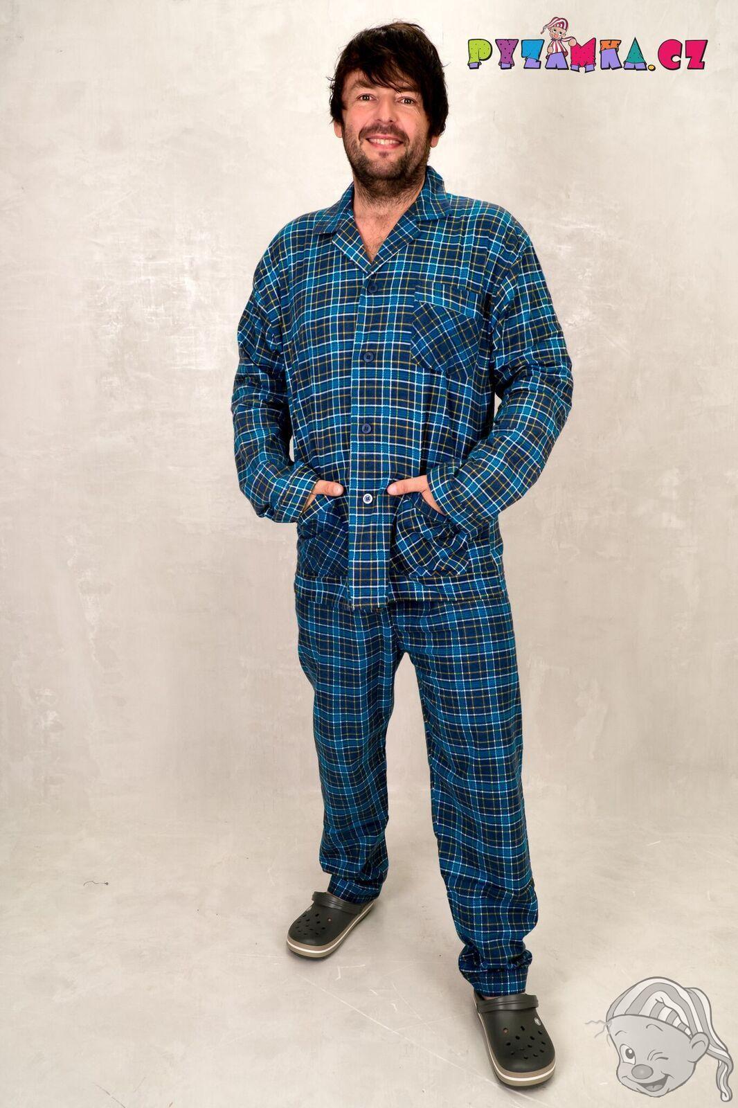 fe6dc82ede60 Pánské pyžamo dlouhé flanelové KOSTKA