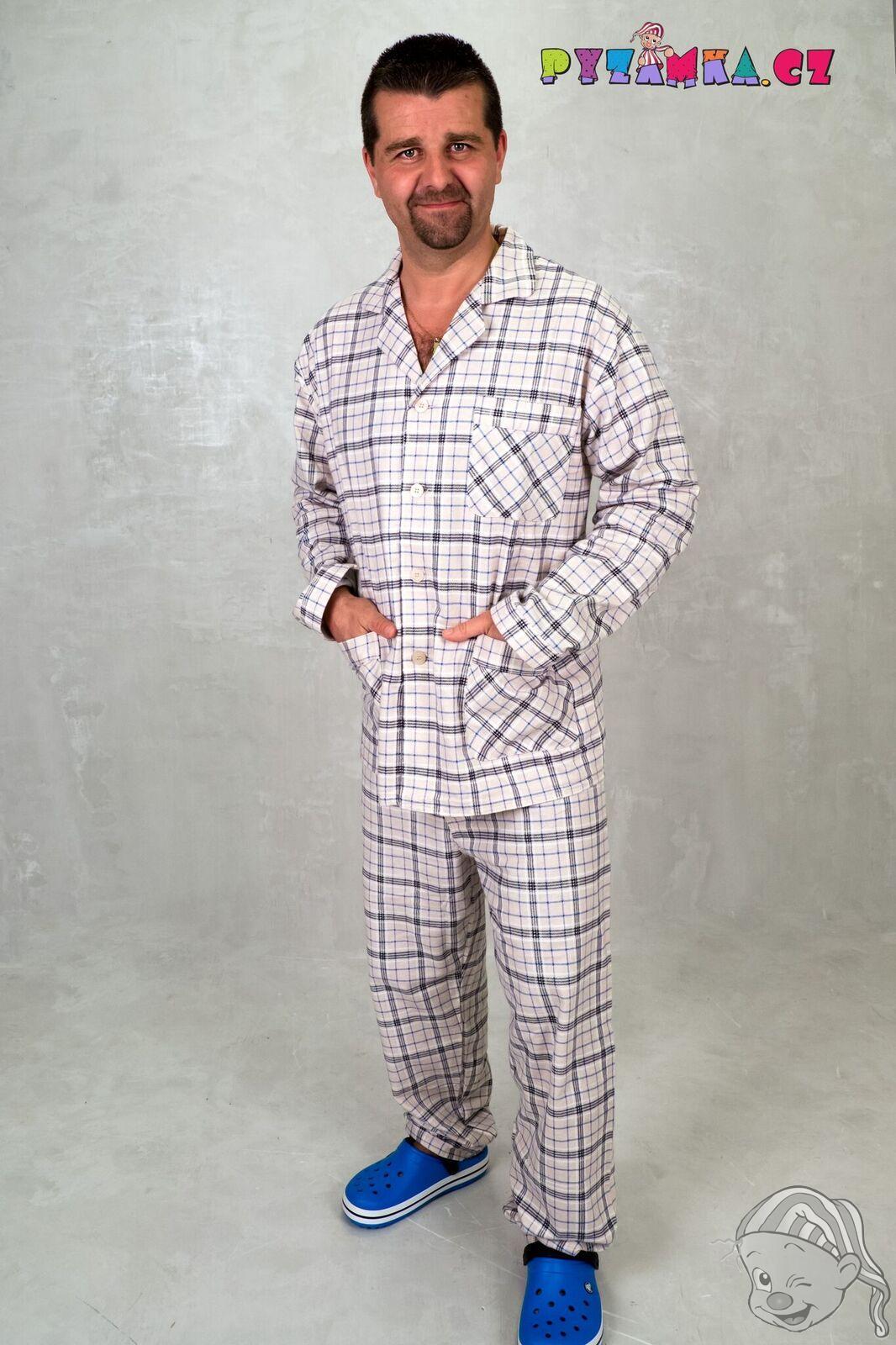 bc8992af643b Pánské pyžamo dlouhé flanelové KOSTKA 2XL béžová