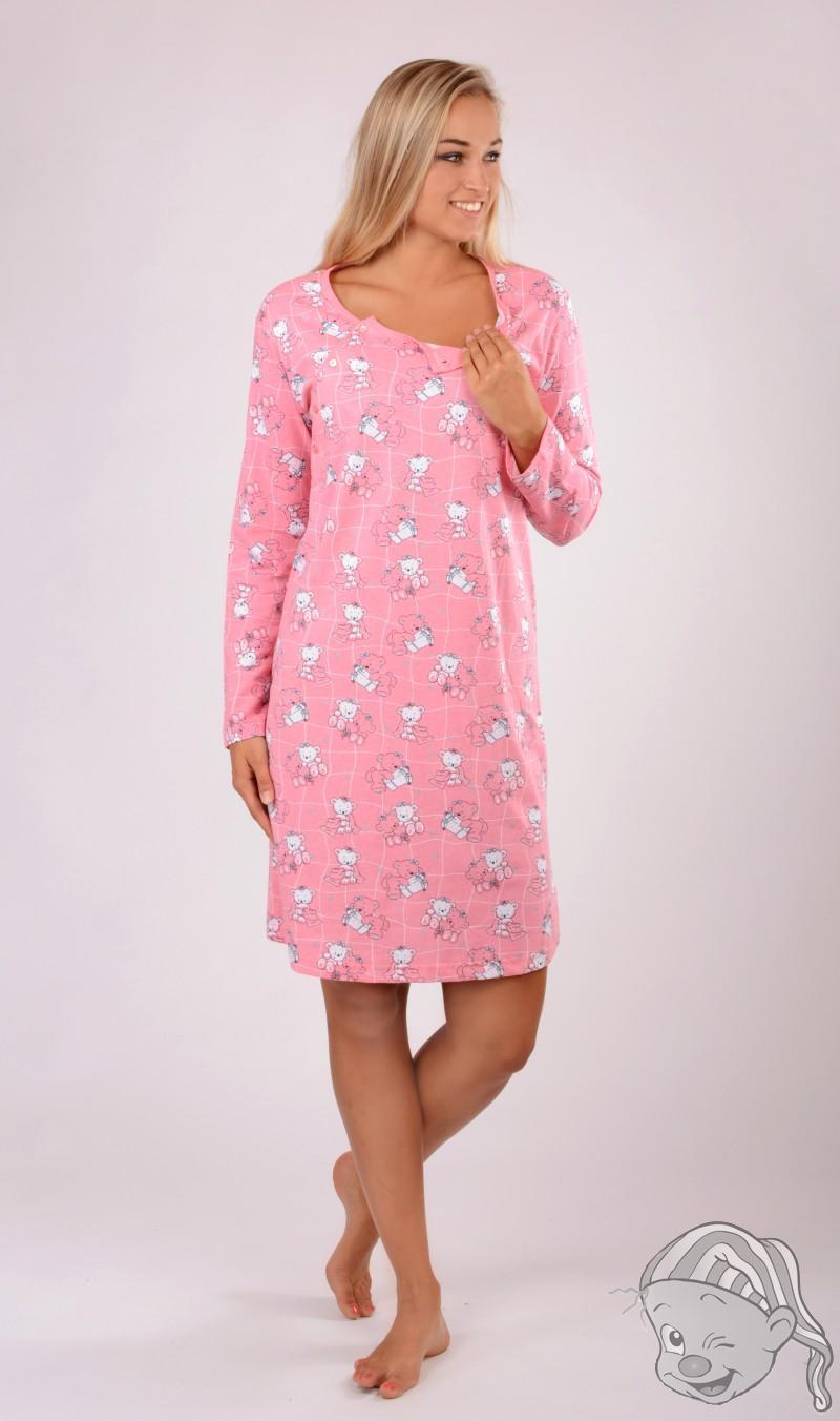 65af2126524 Dámská noční košile mateřská dlouhý rukáv Malí méďové XXL tyrkysová