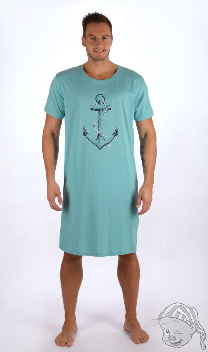 53c4a7ecabc Pánská noční košile s krátkým rukávem Velká kotva L světle modrá