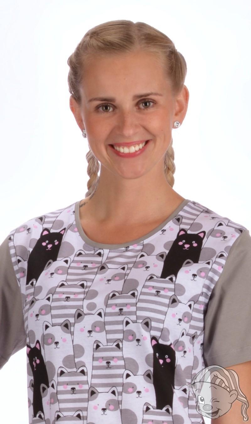 178debdfc8a Dámská noční košile s krátkým rukávem Černá kočka L šedá