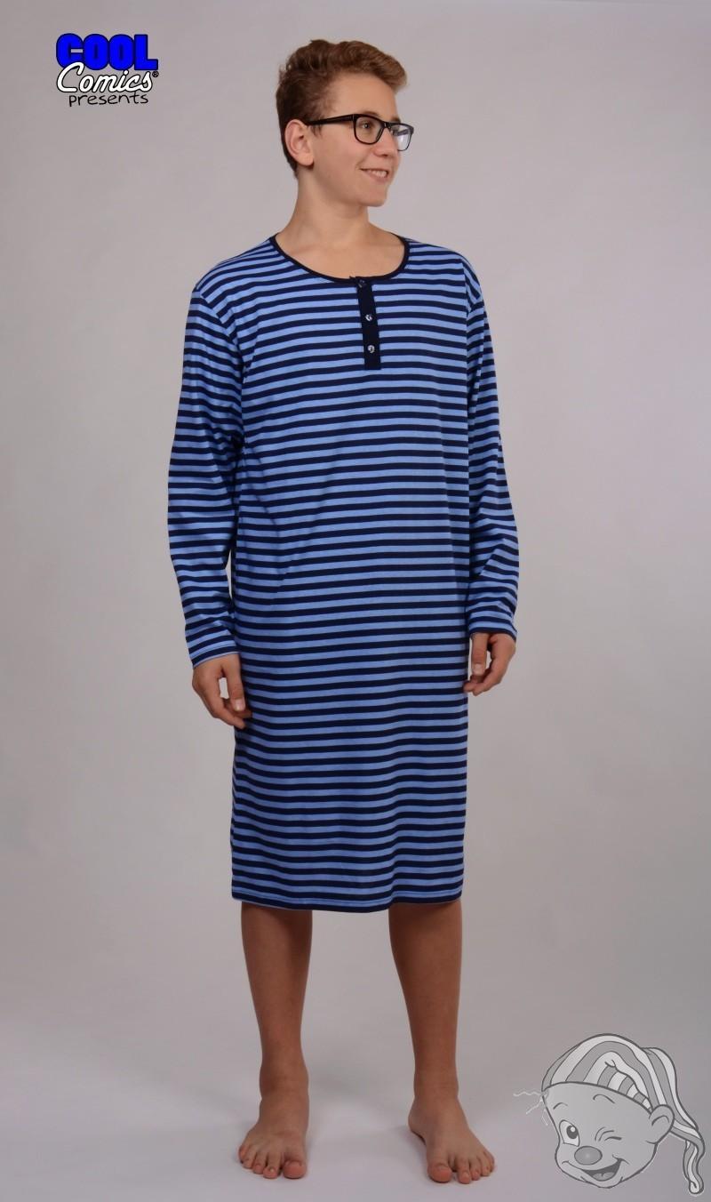 Pánská noční košile s dlouhým rukávem Adam L modrá 97249819aa