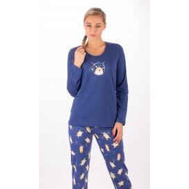 Dámské pyžamo dlouhé Méďa a měsíc