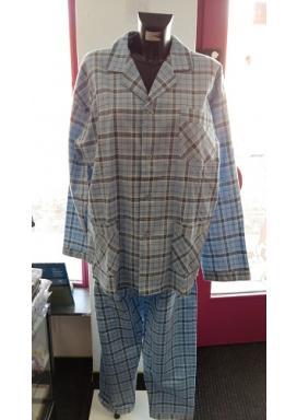 Pánské pyžamo dlouhé flanelové KOSTKA