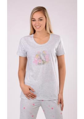 Dámské pyžamo s krátkým rukávem Slon a květy
