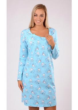 Dámská noční košile mateřská dlouhý rukáv Malí méďové
