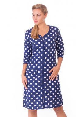 Dámské domácí šaty s tříčtvrtečním rukávem Puntíky