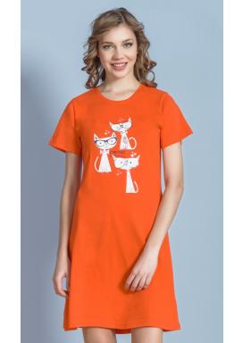 Dámská noční košile s krátkým rukávem Kočky s brýlemi