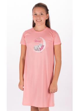 Dětská noční košile s krátkým rukávem Méďa na měsíci
