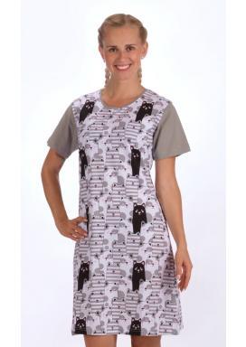 Dámská noční košile s krátkým rukávem Černá kočka