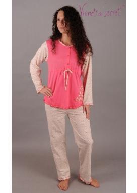 Mateřské pyžamo dlouhé Kytka s výšivkou