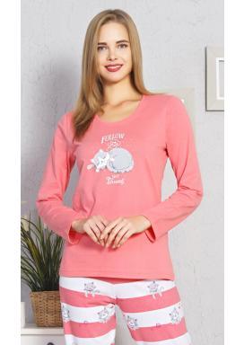 Dámské pyžamo dlouhé Kočka Luisa