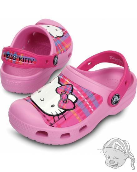 CROCS Hello Kitty Plaid Clog - barva Carnation/Neon Magenta