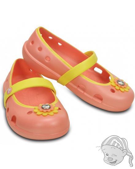 CROCS Keeley Petal Charm Flat - barva Melon/Sunshine