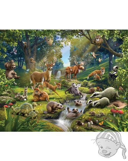 Walltastic 3D Tapeta Zvířátka z lesa (2438 mm x 3048 mm)