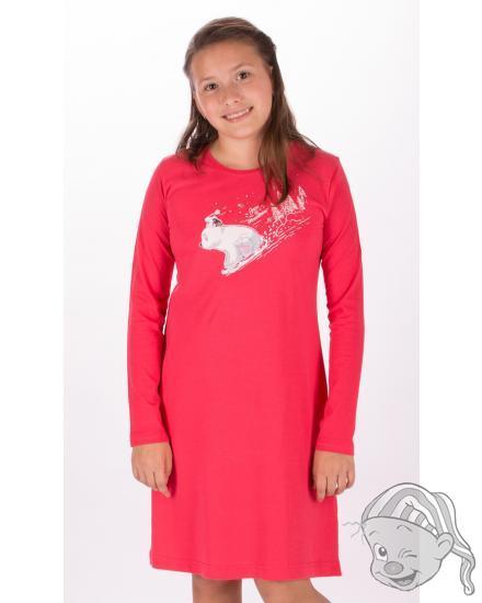 Dětská noční košile s dlouhým rukávem Méďa na saních