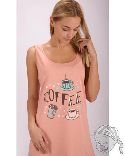 Dámská noční košile na ramínka Coffee