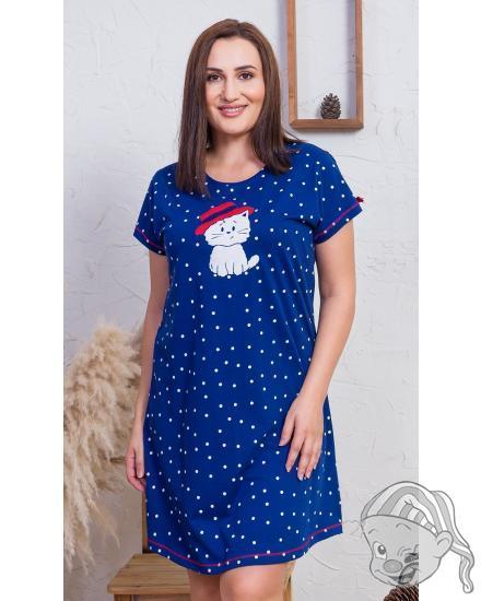 Dámská noční košile s krátkým rukávem Kočka s kloboukem