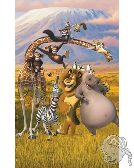 Walltastic 3D Tapeta plakát Madagaskar (1524 mm  x 2438 mm)