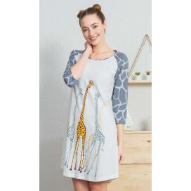 Dámská noční košile s tříčtvrtečním rukávem Žirafy